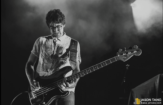 Patrick playing bass with Conway on the Ellie Goulding tour in Calgary, AB